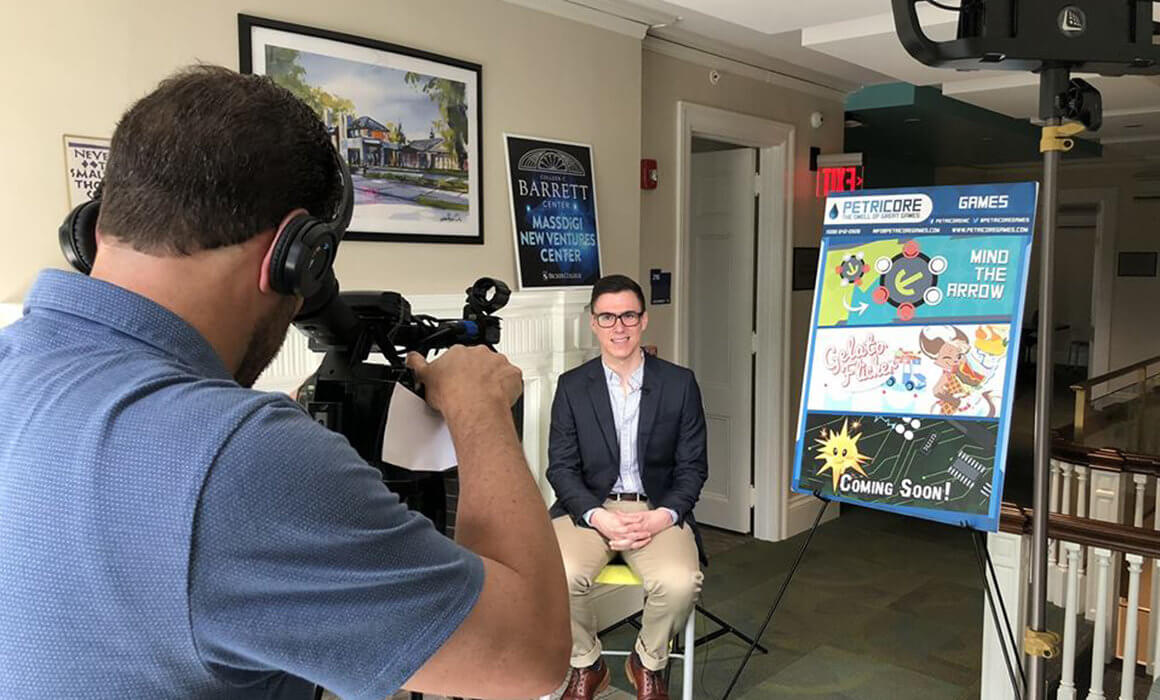 Ryan is interviewed by Boston Fox 25 to talk about Petricore Games and Start Up Worcester